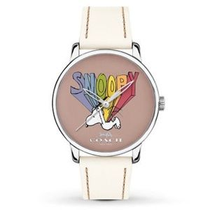 Coach Peanuts Snoopy Leather Women's Cream Watch